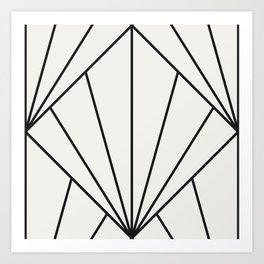 Diamond Series Sun Burst Charcoal on White Art Print