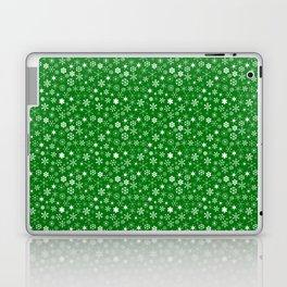 Evergreen Green & White Christmas Snowflakes Laptop & iPad Skin