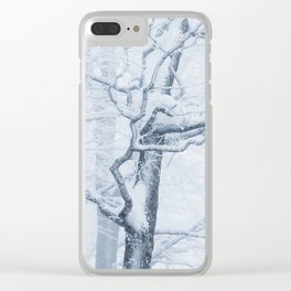 Frozen snowy tree Clear iPhone Case