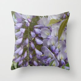Wisteria Petals and Leaves Throw Pillow