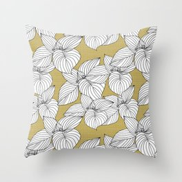 Jungle Summer Floral and Texture in Yellow Throw Pillow