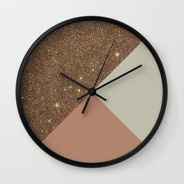 Elegant & Glamorous Faux Gold Glitter & Taupe Wall Clock