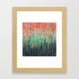 Coral Mint Navy Abstract Framed Art Print