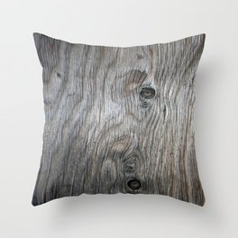 Real Aged Silver Wood Throw Pillow