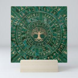Tree of life -Yggdrasil and Futhark - Malachite Mini Art Print