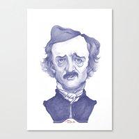 edgar allan poe Canvas Prints featuring Edgar Allan Poe illustration by Stavros Damos