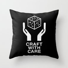 Craft With Care (Black) Throw Pillow