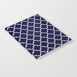 White Moroccan Quatrefoil On Navy Blue Notebook