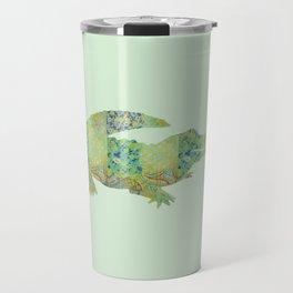 Alligator Crocodile Vintage Floral Pattern Green Teal Mint Blue Travel Mug