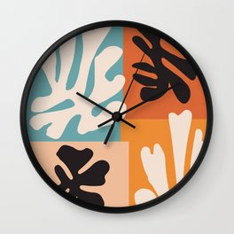 Bohemian Floral Art Print on Canvas, Modern, Contemporary, Pop Art, Large Wall Art, Floral Blooming Wall Clock