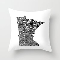 minnesota Throw Pillows featuring Typographic Minnesota by CAPow!