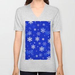Light Blue Snowflakes Unisex V-Neck