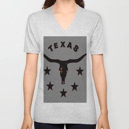 Grey & Black Texas Longhorn Logo Pattern Art Unisex V-Neck