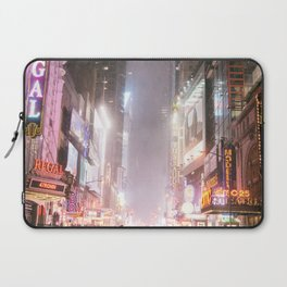 New York City Colorful Snowy Night in Times Square Laptop Sleeve