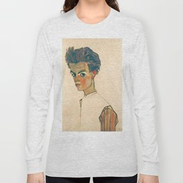 "Egon Schiele ""Self-Portrait with Striped Shirt"" Long Sleeve T-shirt"