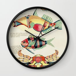 Colourful and surreal s of fishes and crab found in the Indian and Pacific Oceans by Louis Renard (1 Wall Clock