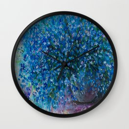 Forget Me Nots Bouquet with a Palette Knife by OLena Art Wall Clock