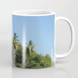 Exotic beach palm, trees and sky summer sun Coffee Mug