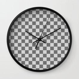 Light Gray and Dark Gray Checkerboard Wall Clock