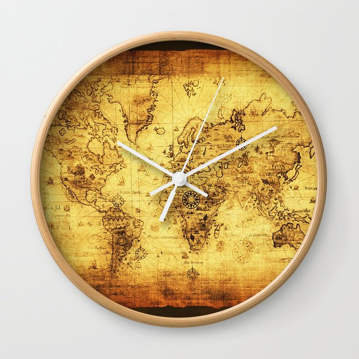 Arty vintage old world map wall clock by onlinegifts society6 arty vintage old world map wall clock gumiabroncs Gallery