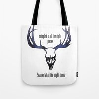antlers Tote Bags featuring Antlers by madbiffymorghulis