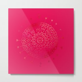 Heartful mandala (pink) Metal Print