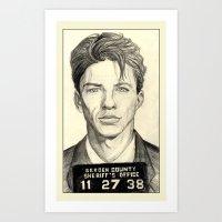 frank sinatra Art Prints featuring Frank Sinatra - Mugshot 1938 by Tim Clary