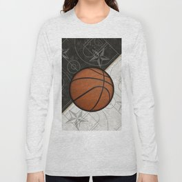 Basketball Stars and Court Team Sports Design Long Sleeve T-shirt