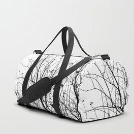 Black white tree branch bird nature pattern Duffle Bag