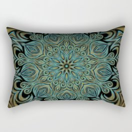 Teal and Gold Mandala Swirl Rectangular Pillow