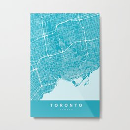 Toronto Canada Map | Blue & Cyan | More Colors, Review My Collections Metal Print