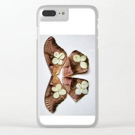 Moth with Yellow Flowers Clear iPhone Case