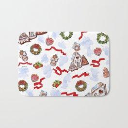 hand drawn pattern of winter decoration Bath Mat