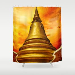 Thai Temple Sunset Shower Curtain