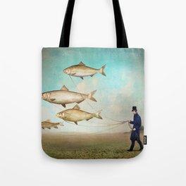 Walking the Fish Tote Bag