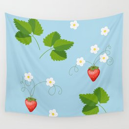 blue strawberry pattern Wall Tapestry