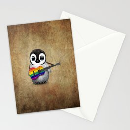 Baby Penguin Playing Gay Pride Rainbow Flag Guitar Stationery Cards