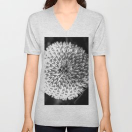 Close up abstract of a round, white flower Unisex V-Neck