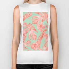 Island Life Coral Pink + Pastel Green Biker Tank