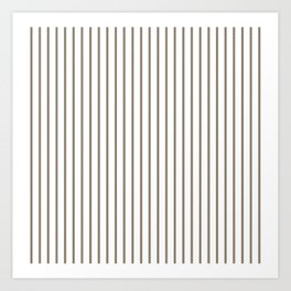 Mulch Brown Pinstripe on White Art Print