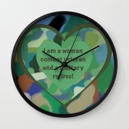 Woman Combat Veteran and Military Retiree Wall Clock