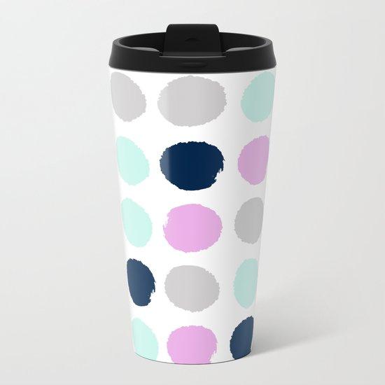 Minimal painted dots pattern bright happy gender neutral colors Metal Travel Mug