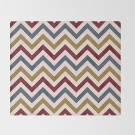 Funky Zigzag Pattern Gold Red Blue Cream Throw Blanket