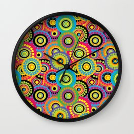 Floral seamless background with doodle circular flowers Wall Clock