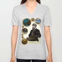 Jules Verne, a Steampunk vision Unisex V-Neck