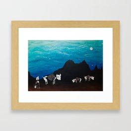 Bison At Night Framed Art Print