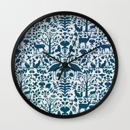 Folk Art Pattern Blue Teal on Gray Wall Clock