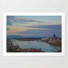 Danube River Budapest Sunset Art Print