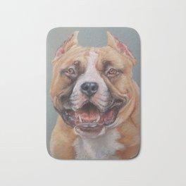 Happy Dog SMILING AMSTAFF FACE Cute pet portrait Pastel drawing Decor for Dog lover Bath Mat