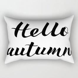 Hello Autumn written with brush pen. Modern calligraphy font hand lettering. Rectangular Pillow